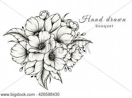 Elegant Wedding Bouquet Isolated On White, Spring Blossom Composition, Hand Drawn Beautiful Botanic