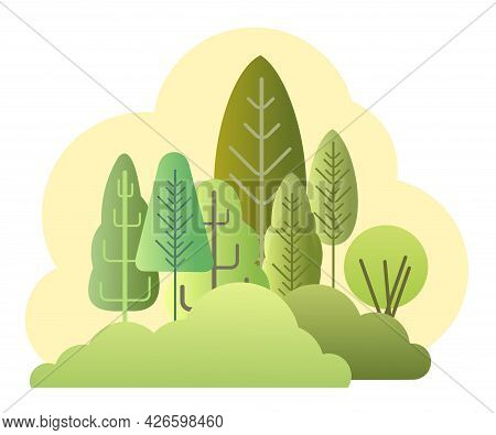 Forest Landscape. Symbolic Flat Cartoon Style. Rural Landscape With Dense Thickets. Isolated Illustr