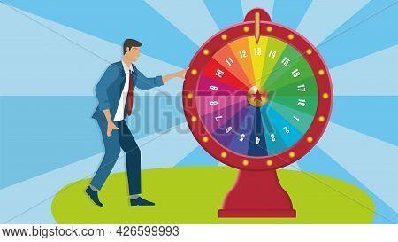 Wheel Of Fortune, Spinning Wheel. Vector Illustration. Eps10.