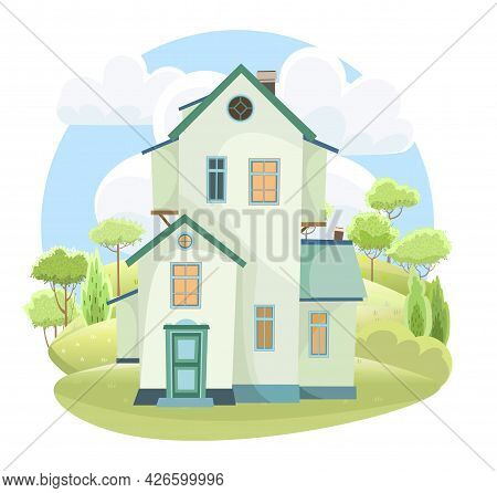 Rural House Against The Backdrop Of A Natural Landscape. Hilly Meadows And Trees. Summer View. Subur