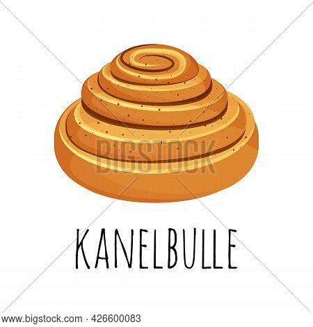 Kanelbulle - Swedish Cinnamon Roll. Sweet Bun Popular In Sweden. Vector Illustration In The Cartoon