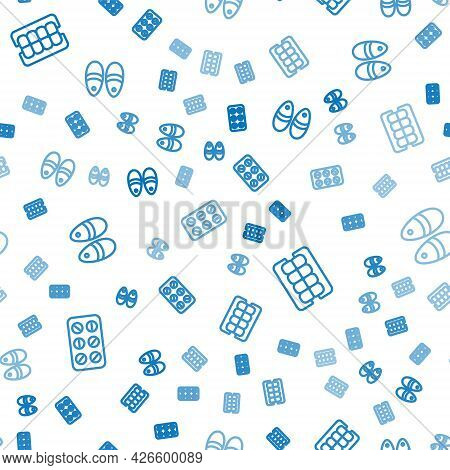 Set Line Pills In Blister Pack, False Jaw And Slippers On Seamless Pattern. Vector