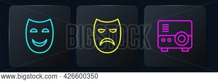 Set Line Comedy Theatrical Mask, Media Projector And Drama. Black Square Button. Vector