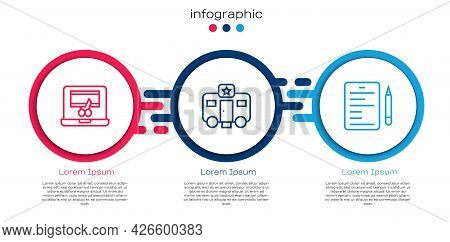 Set Line Video Recorder On Laptop, Actor Trailer And Scenario. Business Infographic Template. Vector