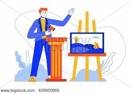 Auction Business Web Concept. Auctioneer With Hammer Sells Painting, Bidding For Piece Of Art. Vecto