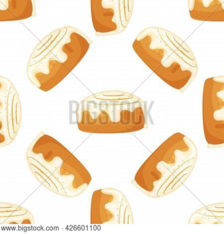 Seamless Pattern. Bun With Cinnamon. Freshly Baked Sweet Cake. Baked Pastry Item. Flat Vector Illust