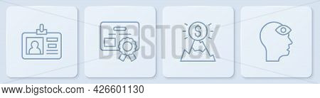 Set Line Identification Badge, Mountains With Flag, Certificate Template And Man Third Eye. White Sq