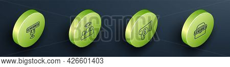 Set Isometric Line Censored Stamp, Spy, Agent, Megaphone And Dollar And Icon. Vector