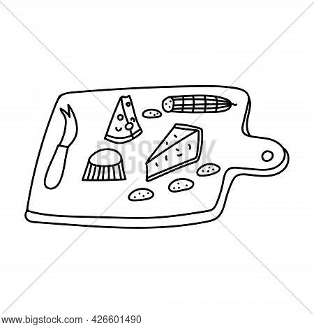 Hand Drawn Doodle Sketch Style Vector Illustration Set Of Various Cheeses And Wooden Cheese Board Wi