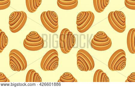 Kanelbulle - Swedish Cinnamon Roll. Fresh Swedish Kanelbulle Swirl Pastry. Baked Sweet Roll Seamless