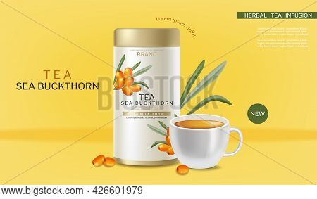 Buckthorn Tea Vector Realistic. Product Placement Label Design. Healthy Delicious Hot