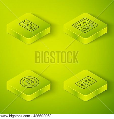 Set Isometric Line Drum Machine, Music Note, Tone, Sound Mixer Controller And Player Icon. Vector