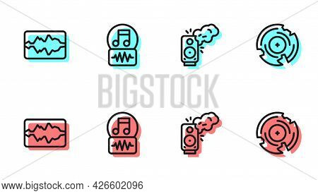 Set Line Stereo Speaker, Music Wave Equalizer, Note, Tone And Vinyl Disk Icon. Vector