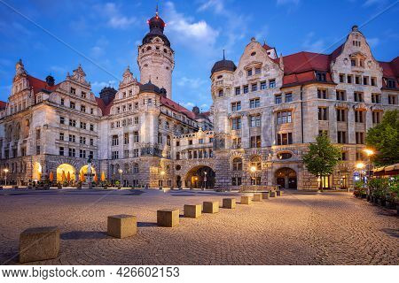 Leipzig, Germany. Cityscape Image Of Leipzig, Germany With New Town Hall At Twilight Blue Hour.