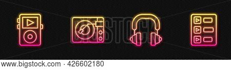 Set Line Headphones, Music Player, Vinyl With Vinyl Disk And Playlist. Glowing Neon Icon. Vector