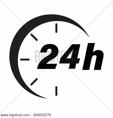 Twenty Four Hour Icon Vector Delivery Service Online Deal Remaining Time For Graphic Design, Logo, W