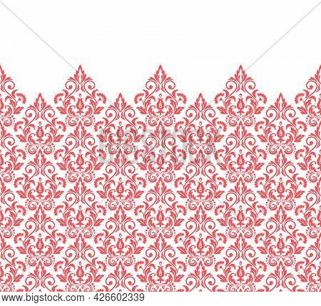 Wallpaper In The Style Of Baroque. Modern Vector Background. White And Pink Floral Ornament. Graphic