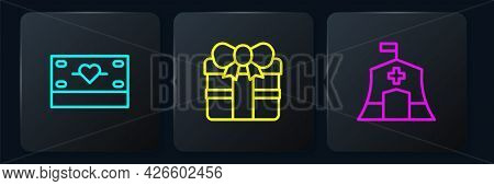 Set Line Donation And Charity, Emergency Medical Tent And Gift Box. Black Square Button. Vector