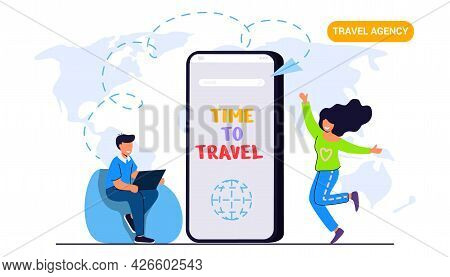 Travel Around The World Time To Travel Young Couple Adventurous Travel Agency Chooses The Tour Desk