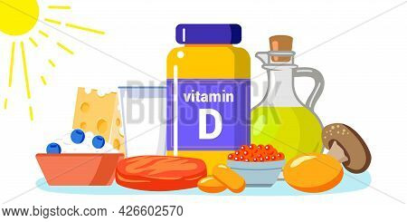 Vitamin D Vector Illustration Healthy Eating And Diet Different Food Rich Of Vitamin D Organic Liver