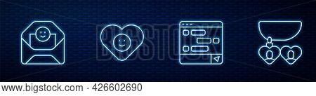 Set Line Chat Messages On Laptop, Envelope With Valentine Heart, Good Relationship And Necklace Shap