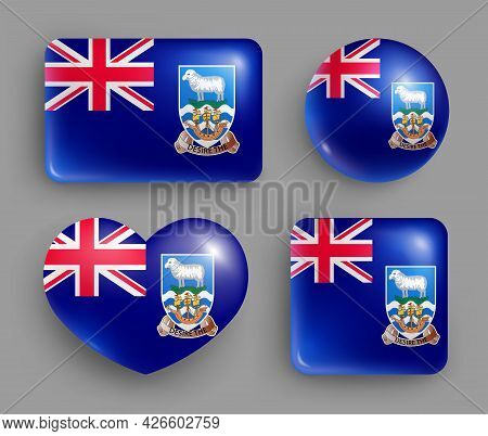 Set Of Glossy Buttons With Falkland Country Flag. American Island State National Flag, Shiny Geometr