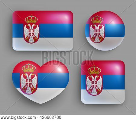 Set Of Glossy Buttons With Serbia Country Flag. South Europe Country National Flag Shiny Badges Of G