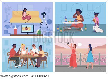 Unhealthy Lifestyle Flat Color Vector Illustration Set. Bad Habits. Students With Digital Addiction.