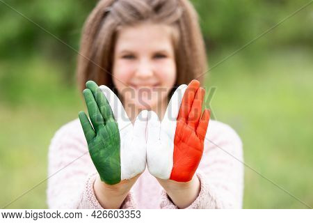 Mexico Flag Painted On Teen Girl Hands, Focus On Hands. Mexican Independence Day 16 September. Febru