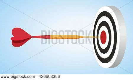 Red Dart Arrow And Dart Board. Hit The Goal And Find Strategies. Dimension 16:9. Vector Illustration