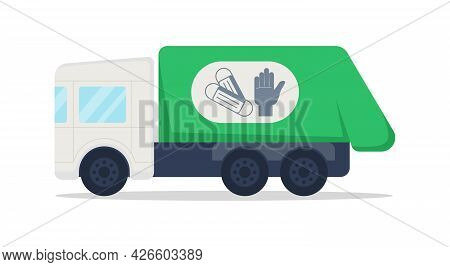 Truck For Medical Waste Semi Flat Color Vector Object. Dustbin Lorry. Garbage Vehicle Collects Dispo