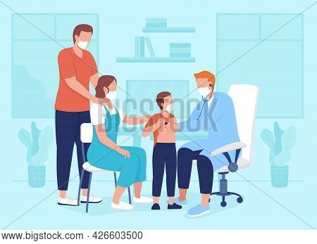Pediatric Appointment Flat Color Vector Illustration. Examination During Clinic Visit. Physician Con