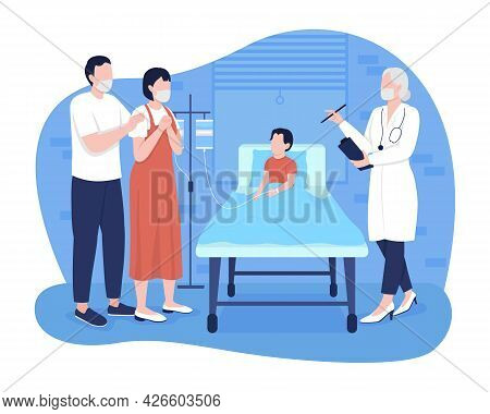 Child In Hospital Room 2d Vector Isolated Illustration. Parents Talking With Pediatrician About Pati