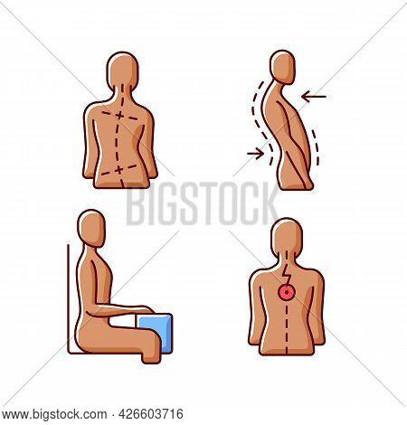 Bad Posture Problems Rgb Color Icons Set. Uneven Hips And Shoulders. Swayback Posture. Sitting At De