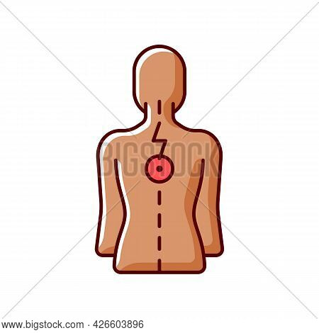 Pressure On Spinal Nerves Rgb Color Icon. Muscle Spasms. Pain Between Shoulder Blades. Numbness, Tin