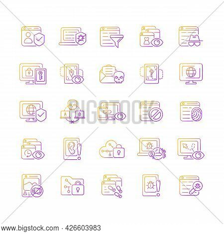Online Surveillance And Censorship Gradient Linear Vector Icons Set. Securing Accounts. Targeting Ad