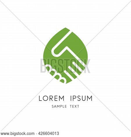 Handshake And Leaf Logo - Shake Hands And Green Sprout Symbol. Nature Protection, Ecology And Enviro
