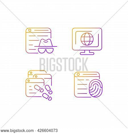 Online Censorship Gradient Linear Vector Icons Set. Private Browsing. Digital Trail. Browser Fingerp