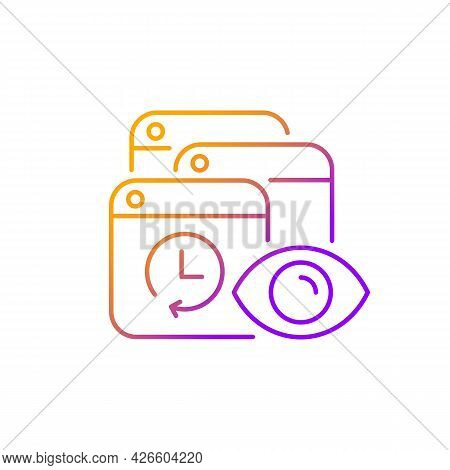 Tracking Search History Gradient Linear Vector Icon. Private Browsing Activity Trailing. Privacy Pre