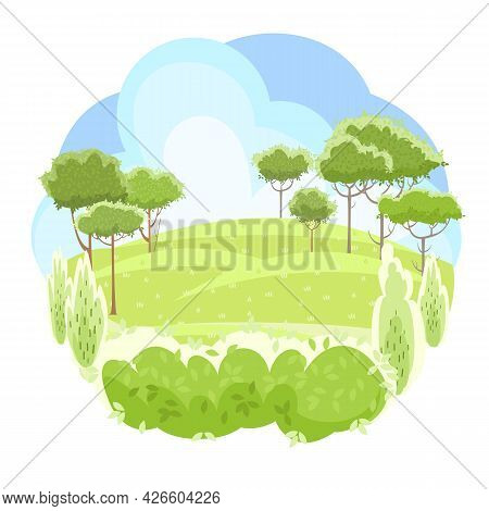 Rural Beautiful Landscape. Cartoon Style. Hills With Grass And Forest Trees. Lush Meadows. Cool Roma