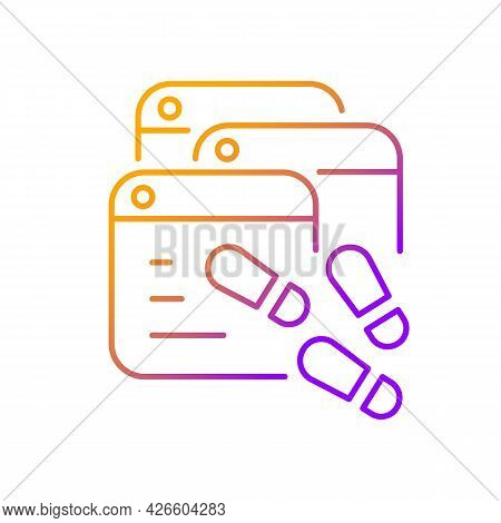 Digital Trail Gradient Linear Vector Icon. Data Footprints. Collecting Private Information From User
