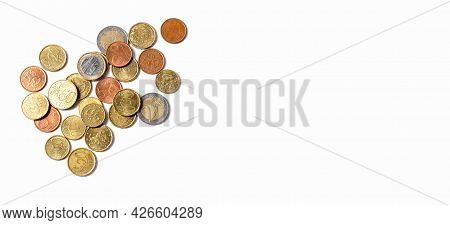 Coins On A White Background. Euro Cents. Money And Business Concept. Banner. Copy Space. High Qualit