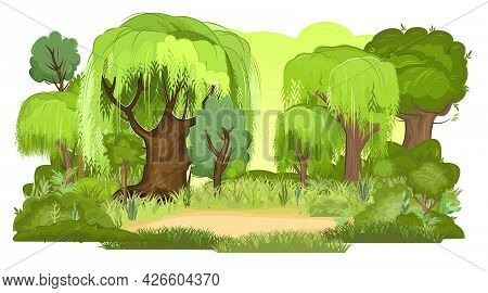 Glade In The Summer Forest. Willows And Oaks In The Grass. Flat Cartoon Style. Rural Landscape With
