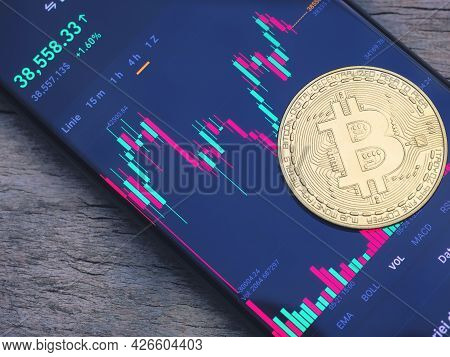 Bitcoin Stock Price. Chart Shows The Price Of Bitcoin. Investing In Virtual Assets, Cryptocurrency C