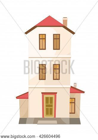 A Tall Cartoon House Similar To A Tower. Cozy Simple Rural Dwelling In A Traditional European Style.