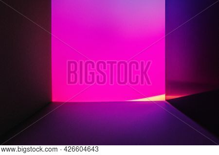 Aesthetic background with pink neon led light effect