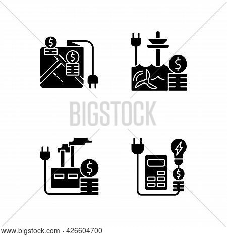 Electrical Energy Purchase Expense Black Glyph Icons Set On White Space. Pricing By Locality. Electr