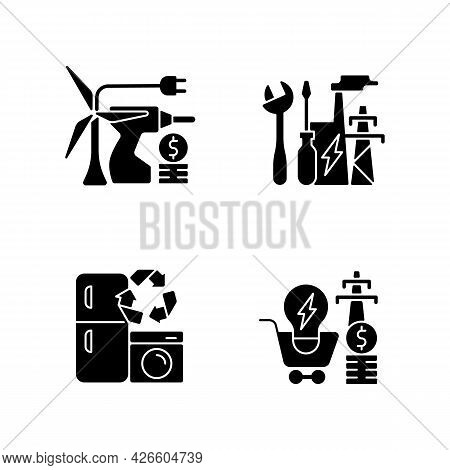 Alternative Energy Black Glyph Icons Set On White Space. Equipment Installation. System Repair And M