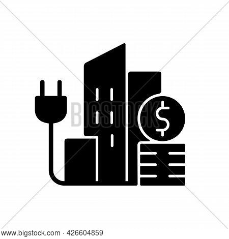 Urban Energy Price Black Glyph Icon. Electricity Consumption In City District. Power Utility Service