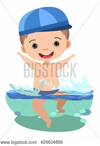 Boy Is Having Fun. Waves Of Water River, Sea Or Ocean. Swimming, Diving And Water Sports. Pool. Isol
